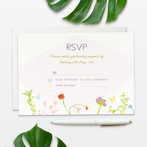 floral inspired wedding rsvp card front side