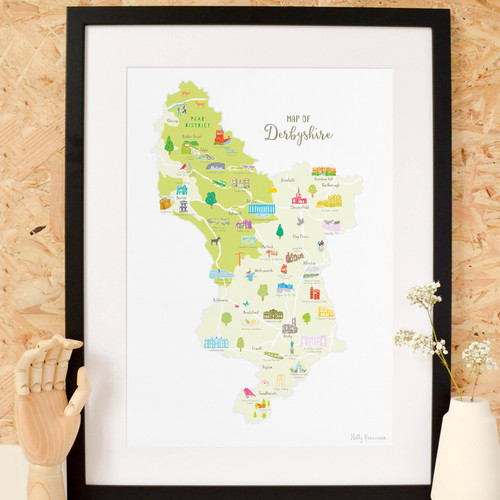 Map Of England Derbyshire.Map Prints County Maps Page 1 Holly Francesca