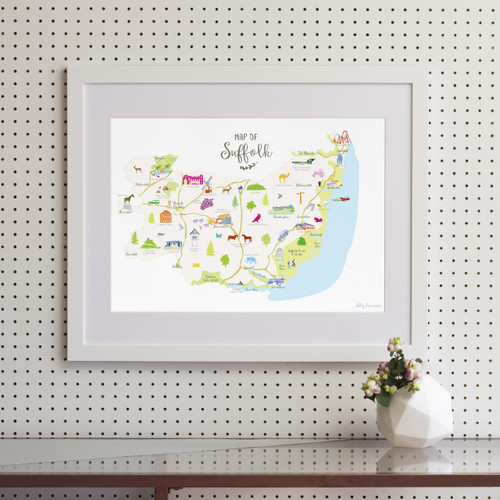 Map of Suffolk East Anglia England framed print illustration