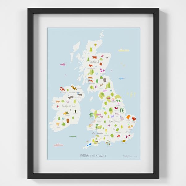 British Isles Produce Map framed Art Print illustration by artist Holly Francesca
