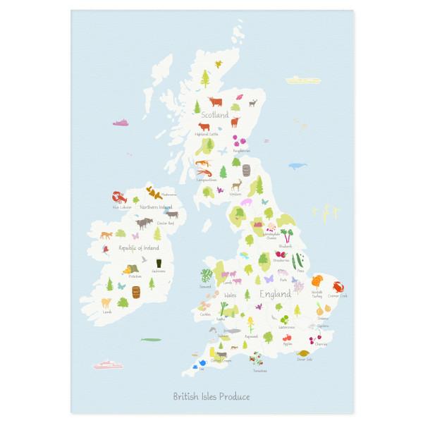 British Isles Produce Map Unframed Art Print illustration by artist Holly Francesca