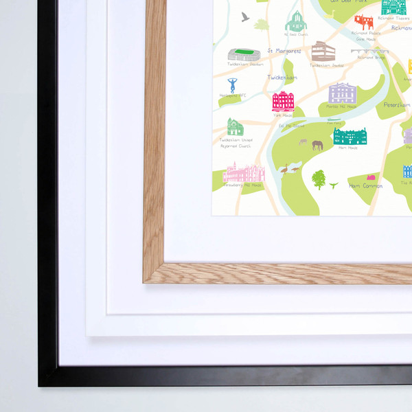 Illustrated hand drawn Map of Richmond and Surrounding Areas art print by artist Holly Francesca.