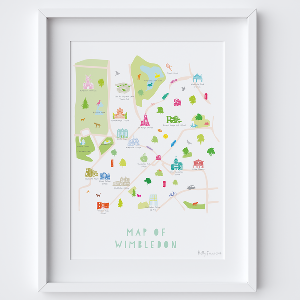 Illustrated hand drawn Map of Wimbledon art print by artist Holly Francesca.