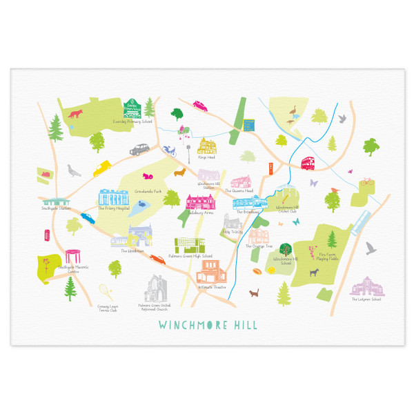 Map of Winchmore Hill Unframed