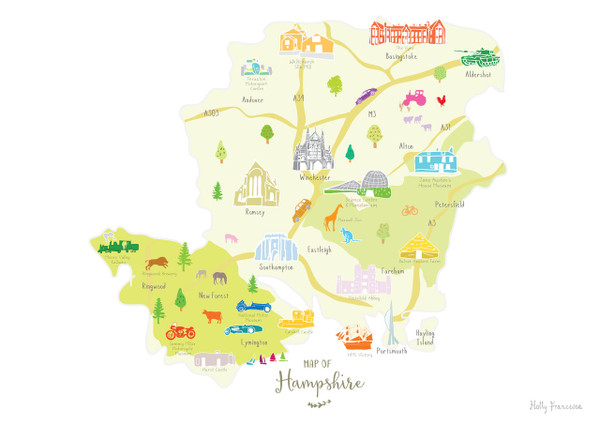 Map of Hampshire in South West England Unframed print illustration