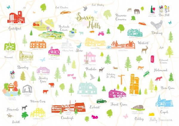 Map of Surrey Hills Art Print (Various Sizes)