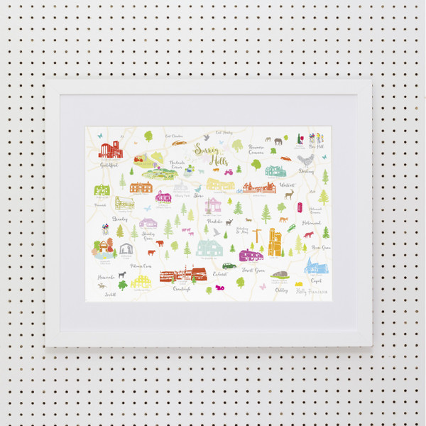 Illustrated hand drawn Map of the Surrey Hills art print by artist Holly Francesca.