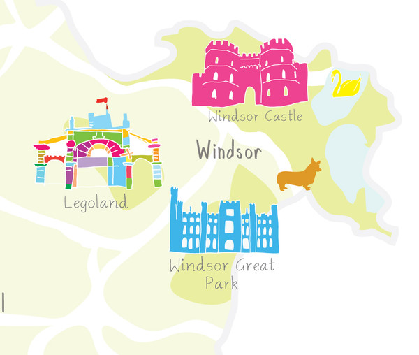 Map of Berkshire in South West England close up of print illustration