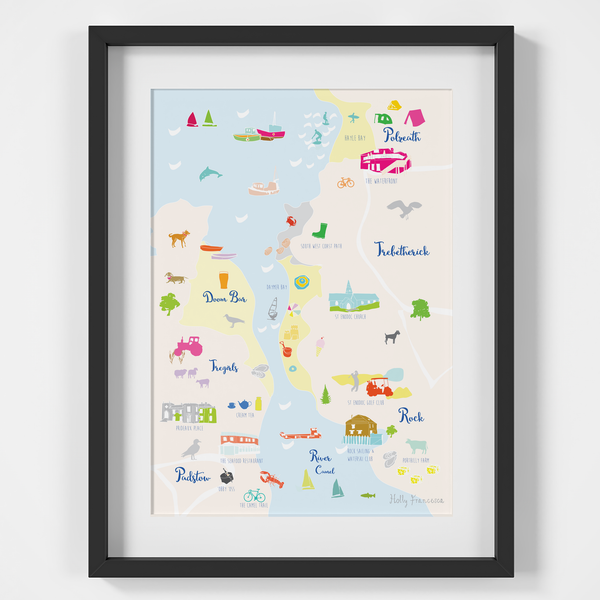 Illustrated hand drawn Map of Polzeath, Padstow & Rock art print by artist Holly Francesca.