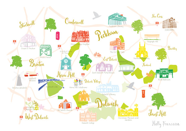 Illustrated hand drawn Map of Dulwich, Brixton and Peckham art print by artist Holly Francesca.