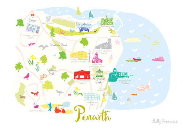 Illustrated hand drawn Map of Penarth art print by artist Holly Francesca.