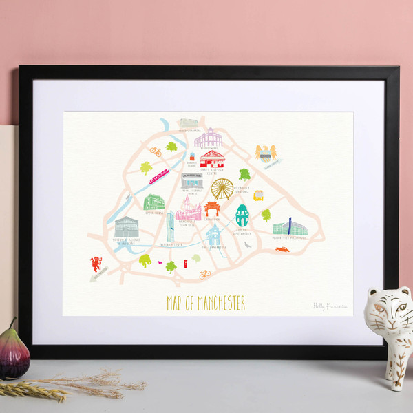 Illustrated hand drawn Map of Manchester art print by artist Holly Francesca.