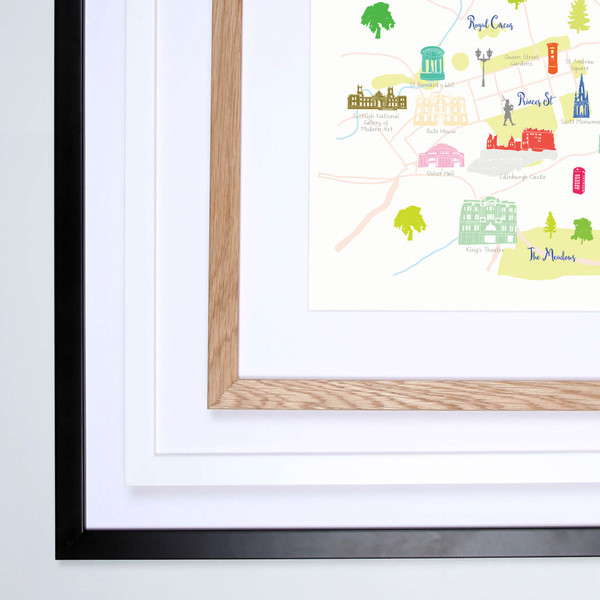 Map of Edinburgh Art Print illustration framed by artist Holly Francesca