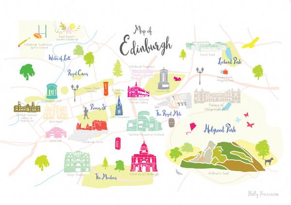 Map of Edinburgh Art Print illustration unframed by artist Holly Francesca