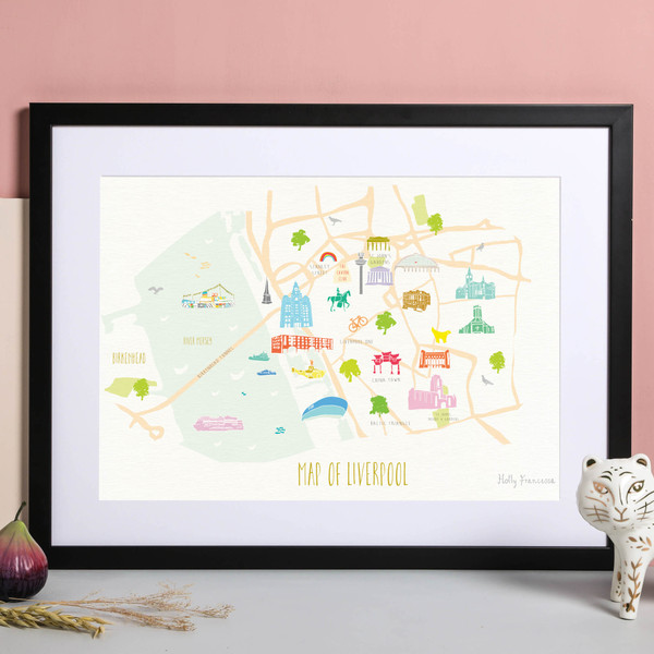 Illustrated hand drawn Map of Liverpool art print by artist Holly Francesca.