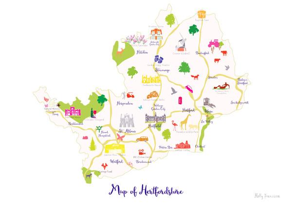 Map of Hertfordshire in South England Unframed print illustration