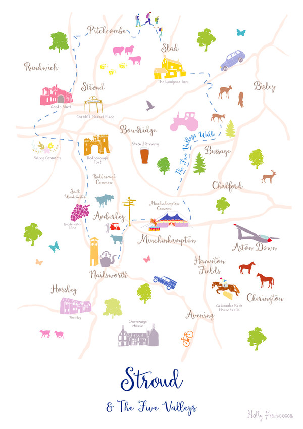 Illustrated hand drawn Map of Stroud & the 5 Valleys art print by artist Holly Francesca.