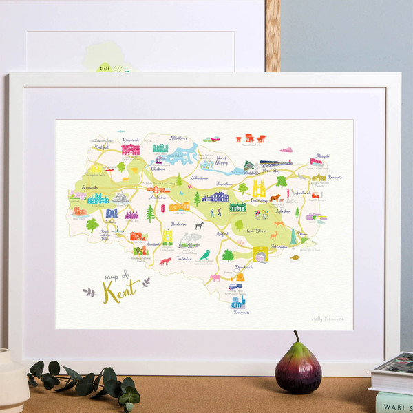 Map of Kent in South East England framed print illustration