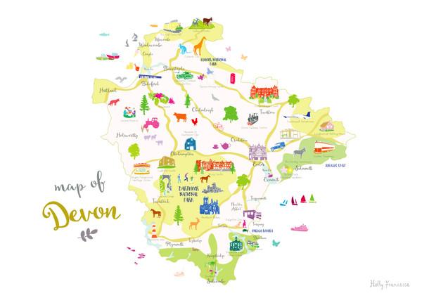 Map of Devon in South West England Unframed print illustration