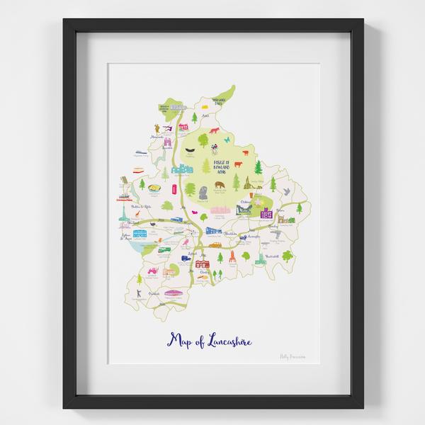Map of Lancashire in North West England framed print illustration