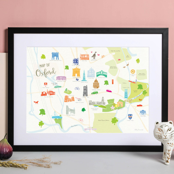 Illustrated hand drawn Map of Oxford art print by artist Holly Francesca.