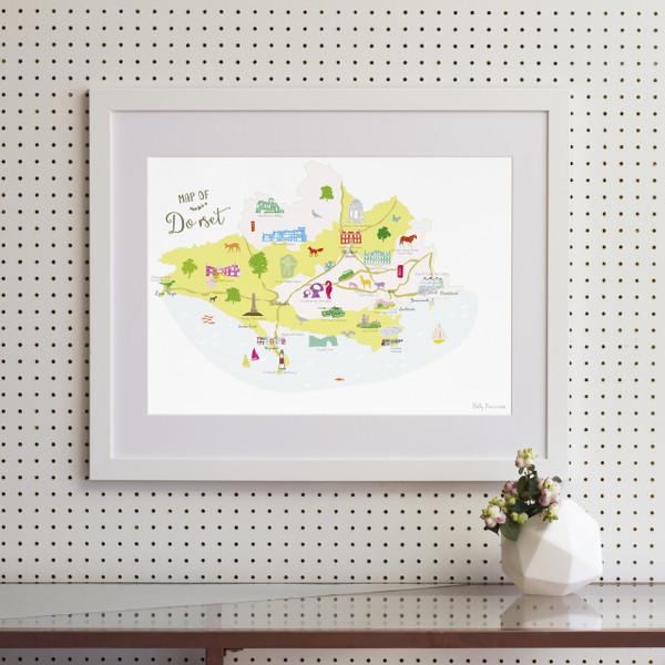 Map of Dorset in South West England framed print illustration
