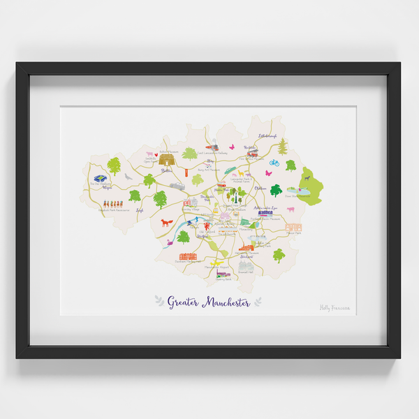Map of Greater Manchester in North West England framed print illustration