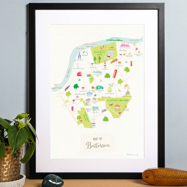 Illustrated hand drawn Map of Battersea art print by artist Holly Francesca.