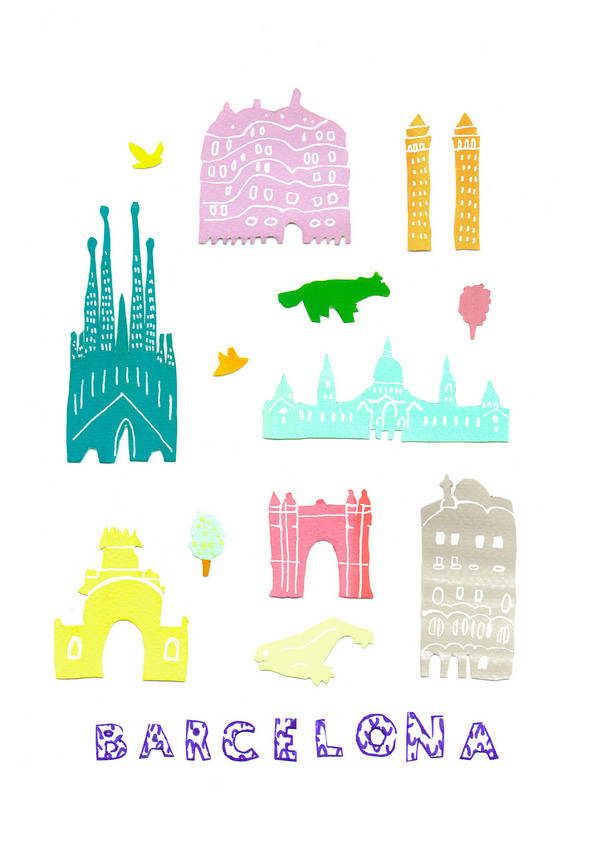 Illustrated papercut Barcelona landmark buildings art print by artist Holly Francesca.