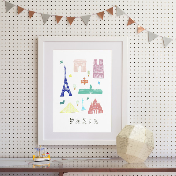 Illustrated papercut Paris landmark buildings art print by artist Holly Francesca.