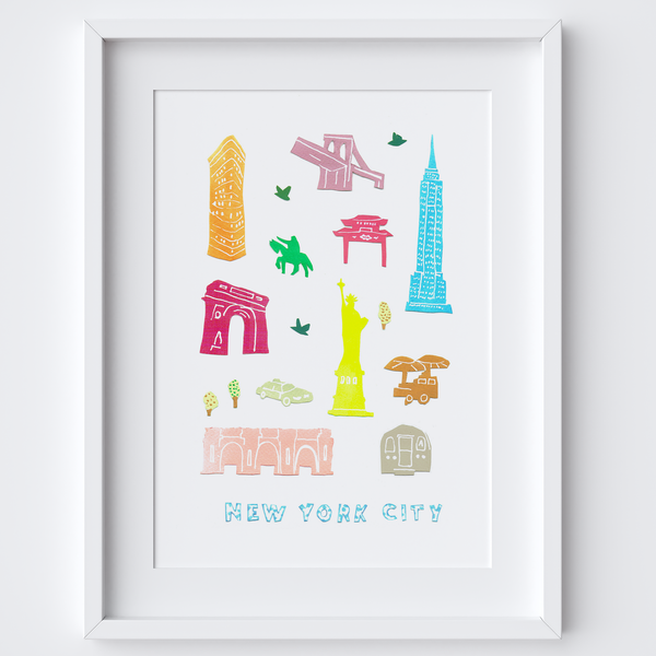 Illustrated papercut New York City landmark buildings art print by artist Holly Francesca.