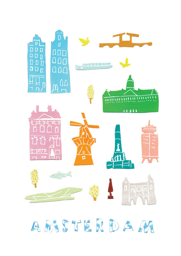 Illustrated papercut Amsterdam landmark buildings art print by artist Holly Francesca.