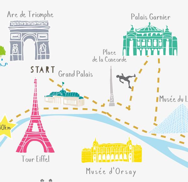 Illustrated hand drawn Paris Marathon Route Map art print by artist Holly Francesca.