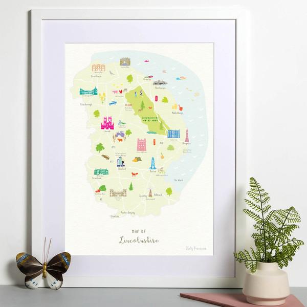 Map of Lincolnshire in East England framed print illustration