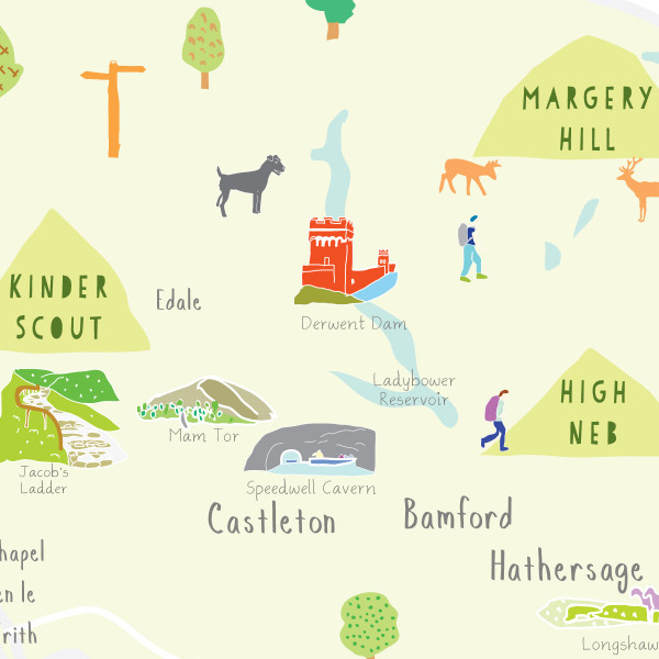 Illustrated hand drawn Map of the Peak District National Park art print by artist Holly Francesca.