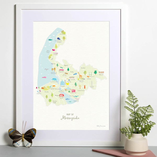 Map of Merseyside in North West England framed print illustration