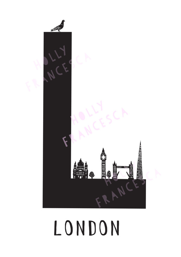 Illustrated hand drawn London Letter art print by artist Holly Francesca.