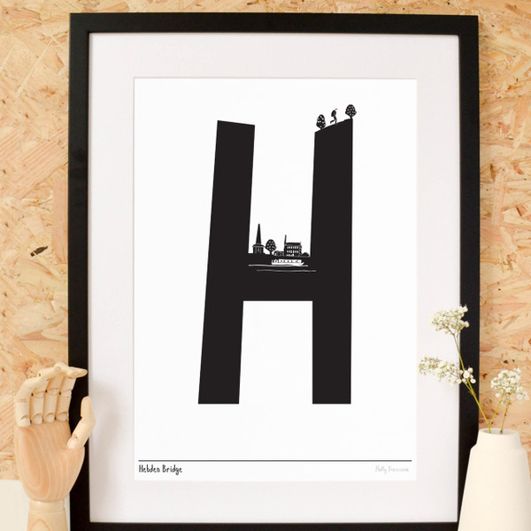 Illustrated hand drawn Hebden Bridge Letter art print by artist Holly Francesca.
