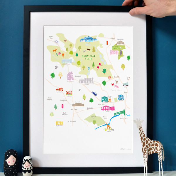 Illustrated hand drawn Map of Hampstead & Surrounding Areas art print by artist Holly Francesca.