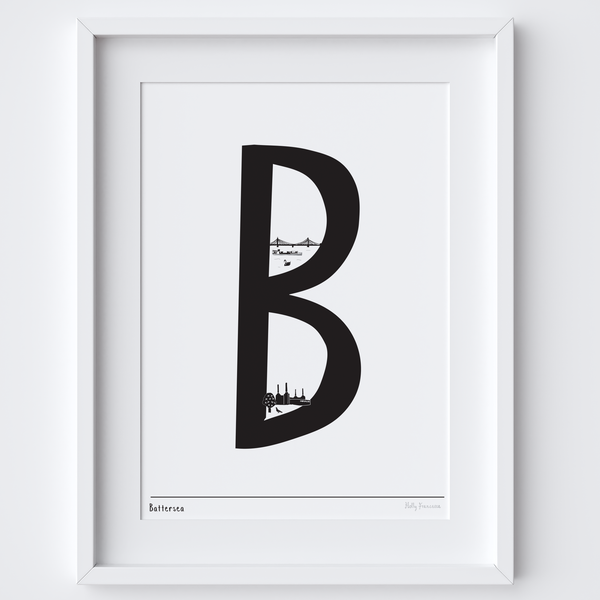 Illustrated hand drawn Battersea Letter art print by artist Holly Francesca.