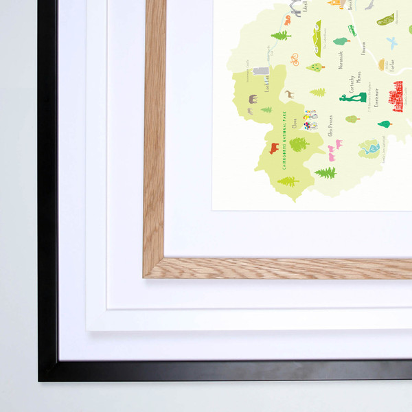 Map of Angus in Scotland framed print illustration