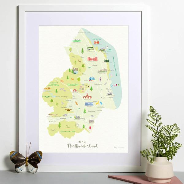 Map of Northumberland framed print illustration
