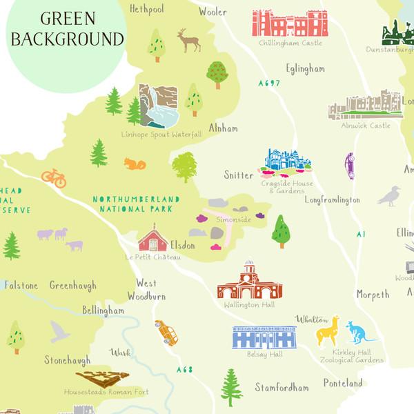 Map of Northumberland unframed print illustration