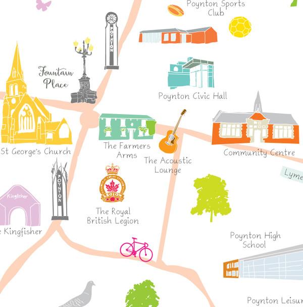 Map of Poynton (Cheshire) Art Print (Various Sizes)