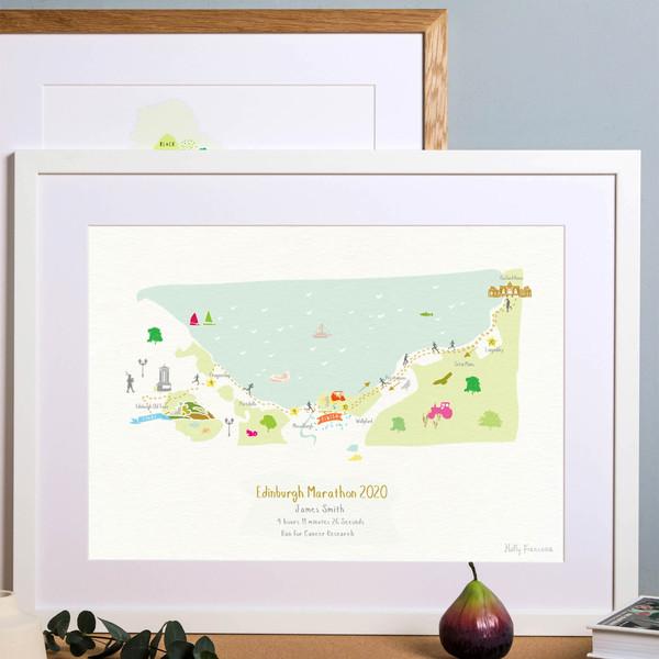 Illustrated hand drawn Edinburgh Marathon Route Map art print by artist Holly Francesca.