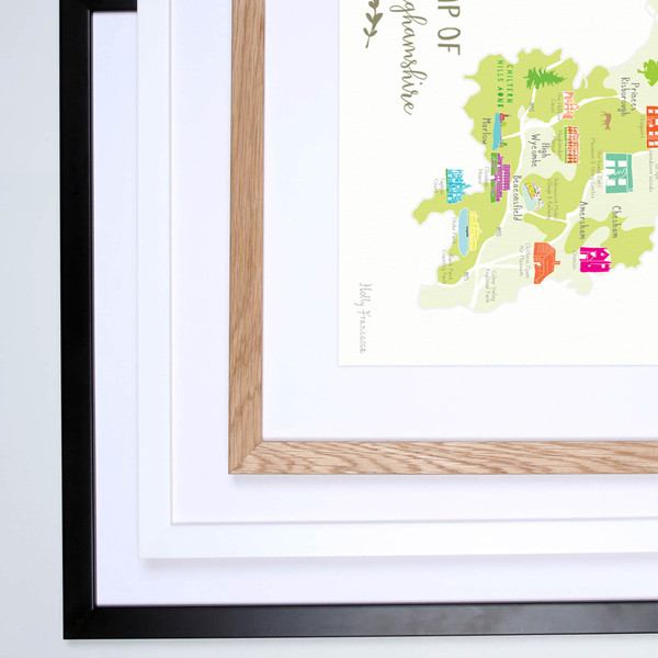 Illustrated hand drawn Map of Buckinghamshire art print by artist Holly Francesca.
