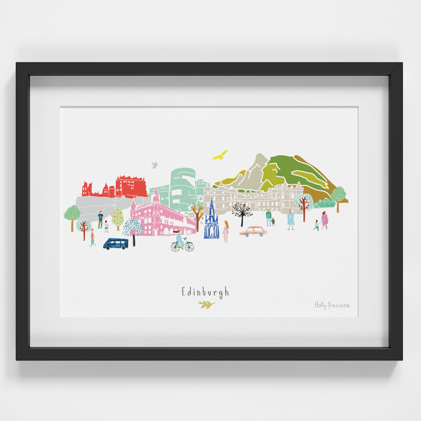 Illustrated hand drawn Edinburgh Skyline Cityscape art print by artist Holly Francesca.