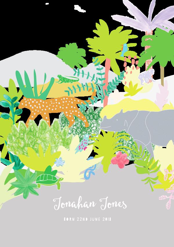 Personalised Jungle Animals Birth Art Print