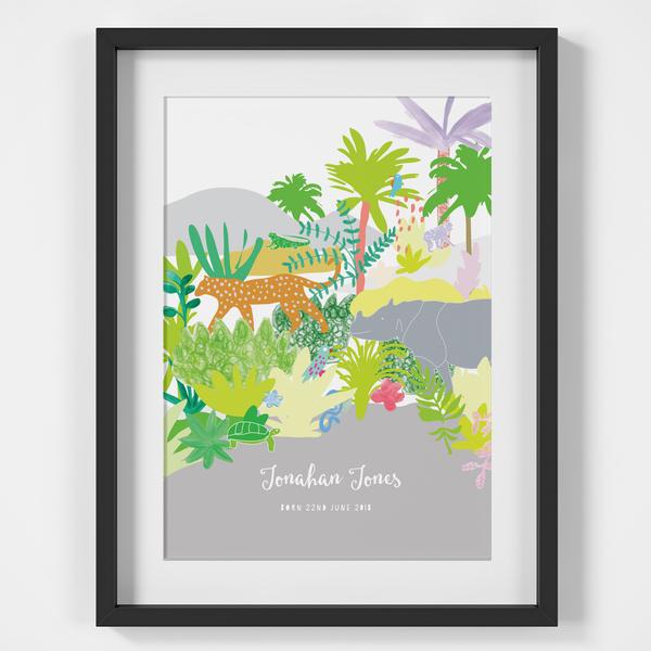 Personalised Jungle Animals Birth Print