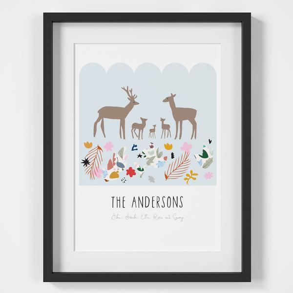 Personalised Deer Family Art Print